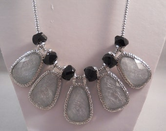 Silver Tone and Grey Pendant Necklace on a Silver Tone Chain with Black Spacers