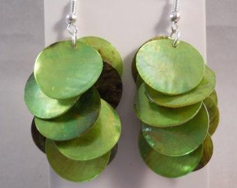 Green Shell Disc Dangle Earrings