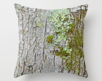 Photo Pillow Cover Decorative Moss Pillow Rustic Pillow Tree Pillow