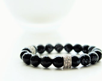 Obsidian Snowflake and Onyx Silver Pave Rondelle Stackable Bracelets