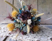 Wedding Bouquet Bridal Hand Tied Dried Flowers Protea Globe Thistle White Peacock Feathers Shabby Chic Rustic Country Wedding