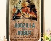 25% OFF Japanese Godzilla vs Robot - Vintage Japan paper Dictionary Print