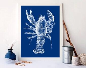 Lobster art print, nautical nursery art,  vintage nursery nautical, nautical nursery wall art, Ocean Sea Art Print, nautical lobster, A-1030