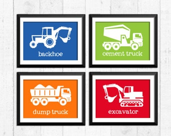Trucks prints, construction nursery art,  construction decor, kids art prints,  kids art, nursery print, construction posters art, A-4012