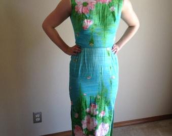 50s 60s Wiggle Satin Cotton Watercolor Hawaiian Summer Dress