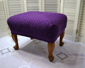 Vintage Foot Stool with Crochet Cover Purple Wooden Stool Bench Low Seating Cottage Handmade Upcycle Recycle Littlestsister