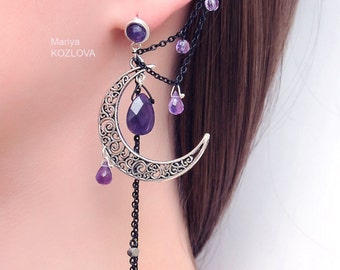 Silver Purple Lilac Night Ear Cuff with Fairy Amethyst Stars and Scroll Moon/ curl open work Moon/ ohr faux piercing/ Ohrklemme/ ohrclip