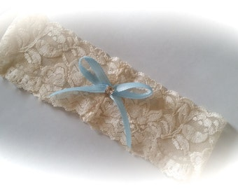 SALE Stretch Lace Garter with blue bow - something blue garter
