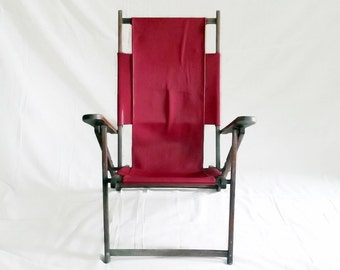 Antique Deck Chair -  Sling - Upcycled Leather - 1910s - Red - Wood - Minimal - Rustic