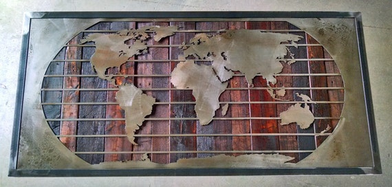 Map of the world mural map reclaimed wood by legendaryfineart for Decor mural metal