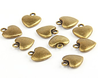 Antique Bronze Heart Charms, Love Charms, Heart Charms, 10 pieces // ABCh-013