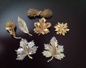 Flower and Leaf Pin Lot of 7