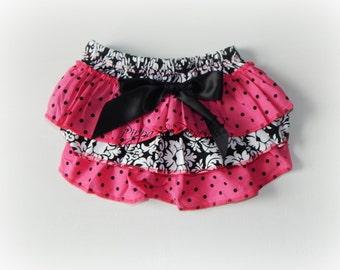 Ruffled Diaper Cover, Photo Prop, Pink Diaper Cover, Ruffled Bloomer