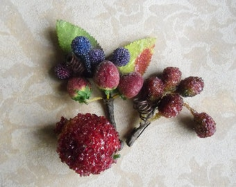 Vintage Candied Fruit - Sugared Fruit, Millinery Supplies, Candied Berries, Faux Fruit, Holiday Decor, Christmas Decor