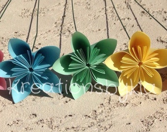 Pastel Origami Paper Flowers with Stems/Kusudama Flower Bouquet/ Flower Arrangement/Centerpiece