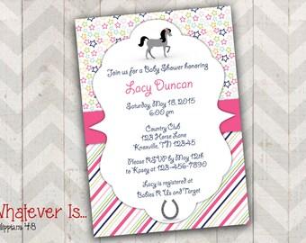 Pony Stars & Stripes Girl Baby Shower Printable Invitation