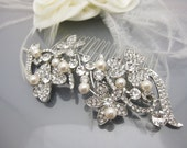 Bridal hair comb pearl Hair comb Wedding hair comb Bridal hair accessories Rhinestone hair comb Crystal hair comb Pearl hair comb Wedding