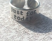 just for today/one day at a time   stamped aluminium cuff ring  recovery symbol inside sobriety eating disorder