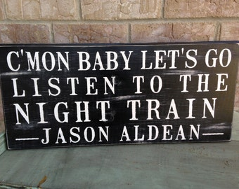 "Night train graphic black and white sign (24"" x 11"")  all colors available"