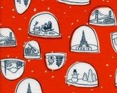 Snow Globes in Red - Brushed Cotton by Cotton and Steel