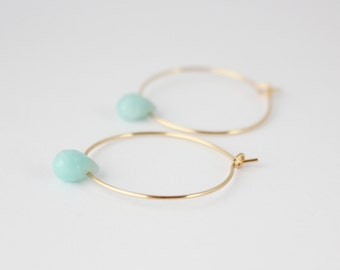 Amazonite and gold filled hoop earrings