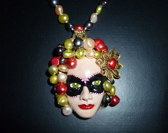 Polymer clay pearl maiden. Freshwater pearls - Fully knotted strand - Hand sewn - Hand formed - Hand painted