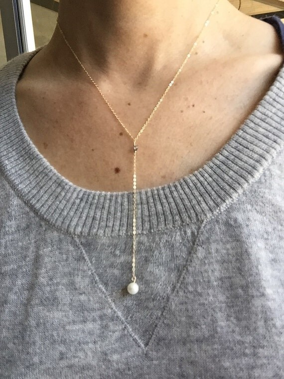 Pearl drop necklace, Lariat necklace, layered necklace, layered, personalized, Y necklace
