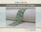 Bead Loom Pattern - FITZGERALD Bracelet in Green Teal, Aqua, and Silver - Digital Download