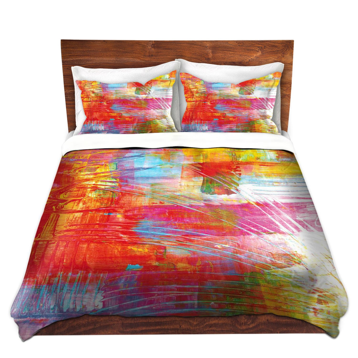 dance with me fine art duvet cover bold pink orange abstract -