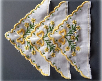 Embroidered Lace Hankie Appliques, Blue / Yellow, x 3, For Heirloom, Reborn, Doll Clothing, Historical Costume