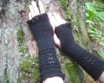 Fingerless Gloves, Black Fingerless Gloves, Wrist Warmers, Knit Fingerless Gloves, Lace Fingerless Gloves, Knitted Gloves, Goth Arm Warmers
