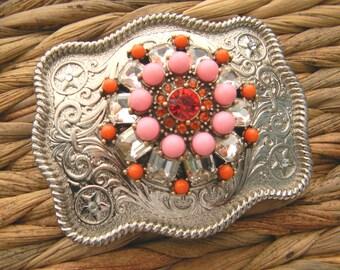 Western Custom Belt Buckle, Simply Southern Coral Belt, Silver Womens Boho Buckle, Gypsy, Country Festival , Statement Gift, OOAK Belt