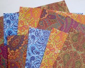 """Paisley Variety Pack-10 sheets of Paisley Wrapping Paper, 19x27"""", 2 each of 5 designs using vegetable inks on recycled paper 1.50 a sheet"""