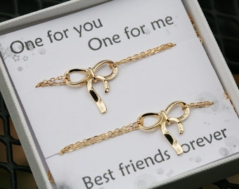 Set of two GOLD adjustable bow bracelets, Monogram initial knot bracelet,Bridesmaid gifts, bridal party gifts,sisterhood,graduation gift
