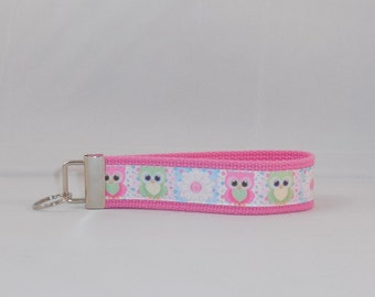 Absolutely Adorable Pastel Keychain Wristlet Made With Owl Ribbon