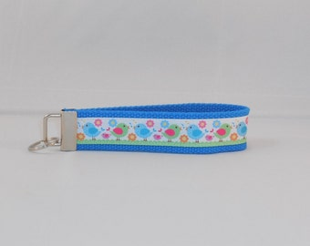 Adorable Keychain Wristlet Made With Bird Themed Ribbon