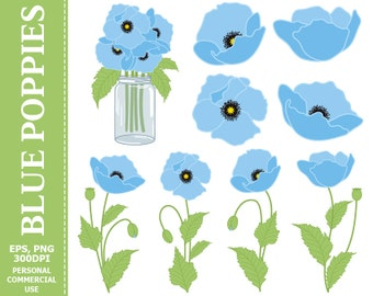 70% OFF SALE Digital Blue Poppies Clip Art - Blue, Green, Flowers, Mason Jar, Bouquet Clip Art