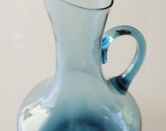 Vintage Glass Blue Pitcher, Blue Glass Flower Vase, Barware blown glass, art deco style, vintage housewares