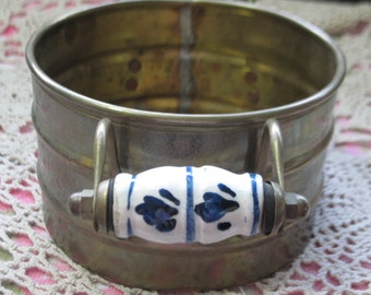 Brass Pot, Small Brass Pot with Delft Blue China Handles, Vintage Brass Pot, Country Home Decor, Home Decor, Vintage home Decor,   :)s