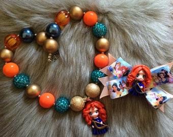 Merida Brave  Chunky Necklace Inspiration , Merida Hair Bow, Merida Party Favors,Merida necklace Meridachunky Necklace, Merida necklace