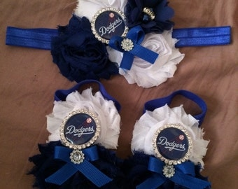 Set of LA Dodgers Inspiration Shabby Flower Headband - Baby Dodgers headband - Baby barefoot sandals - Photo prop