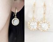 Gold Cubic Zirconia Drop Dangle Earrings, Wedding Party Jewelry, wj