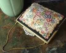 Vintage Austrian Made ~ Floral Petit Point Tapestry Needlepoint ~ Silver & Gold Frame Handbag ~ Evening Clutch ~ Pastel Colors with Black