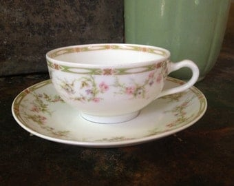 Limoges France Cup Saucer Theodore Haviland Handpainted Pink Roses Floral Cottage Chic