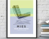 Modern Wall Art, Mies Van Der Rohe, Barcelona Chair, Architectural print, Mid Century Modern, Home Décor, Retro poster