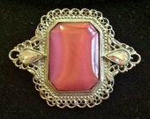 """Beautiful Victorian """"Downton Abbey"""" Style Brooch with Pink Cabachon and Aurora Borealis"""