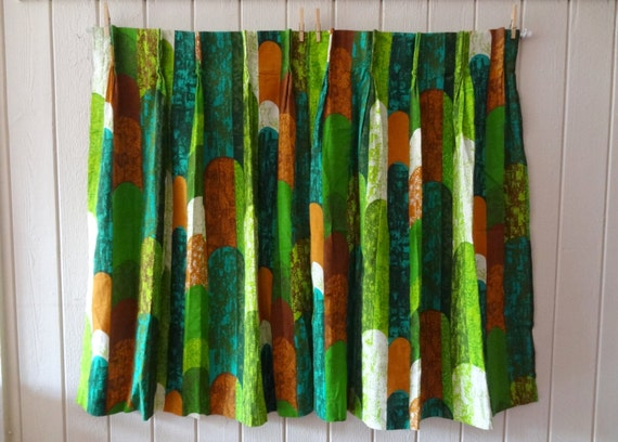 Retro Modern Cafe Curtains Green Turquoise Brown Modern