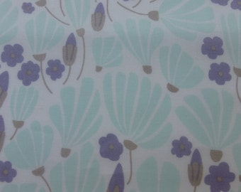 1/2 Yard Organic Cotton Fabric - Cloud 9 Fabrics, Morning Song, Breezy Floral Turquoise