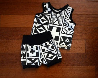 Infant or toddler Geoblocks Organic Cotton knit Racerback Tank and Shorts set