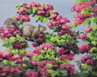Squirrel in the Blossoms - Original floral wildlife painting